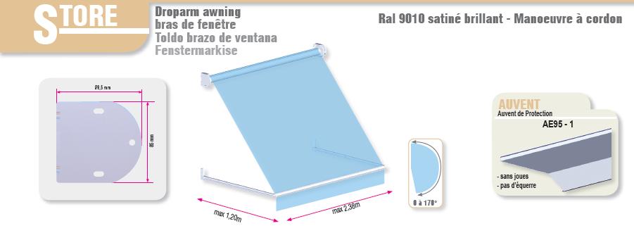 store projection bras droit de 60cm pour fen tres. Black Bedroom Furniture Sets. Home Design Ideas
